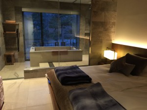 大理石調ガラス張りの浴室